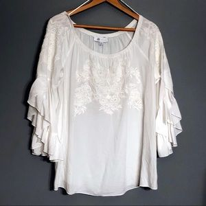 Fever Embroidered Eyelet Bell Sleeve Blouse
